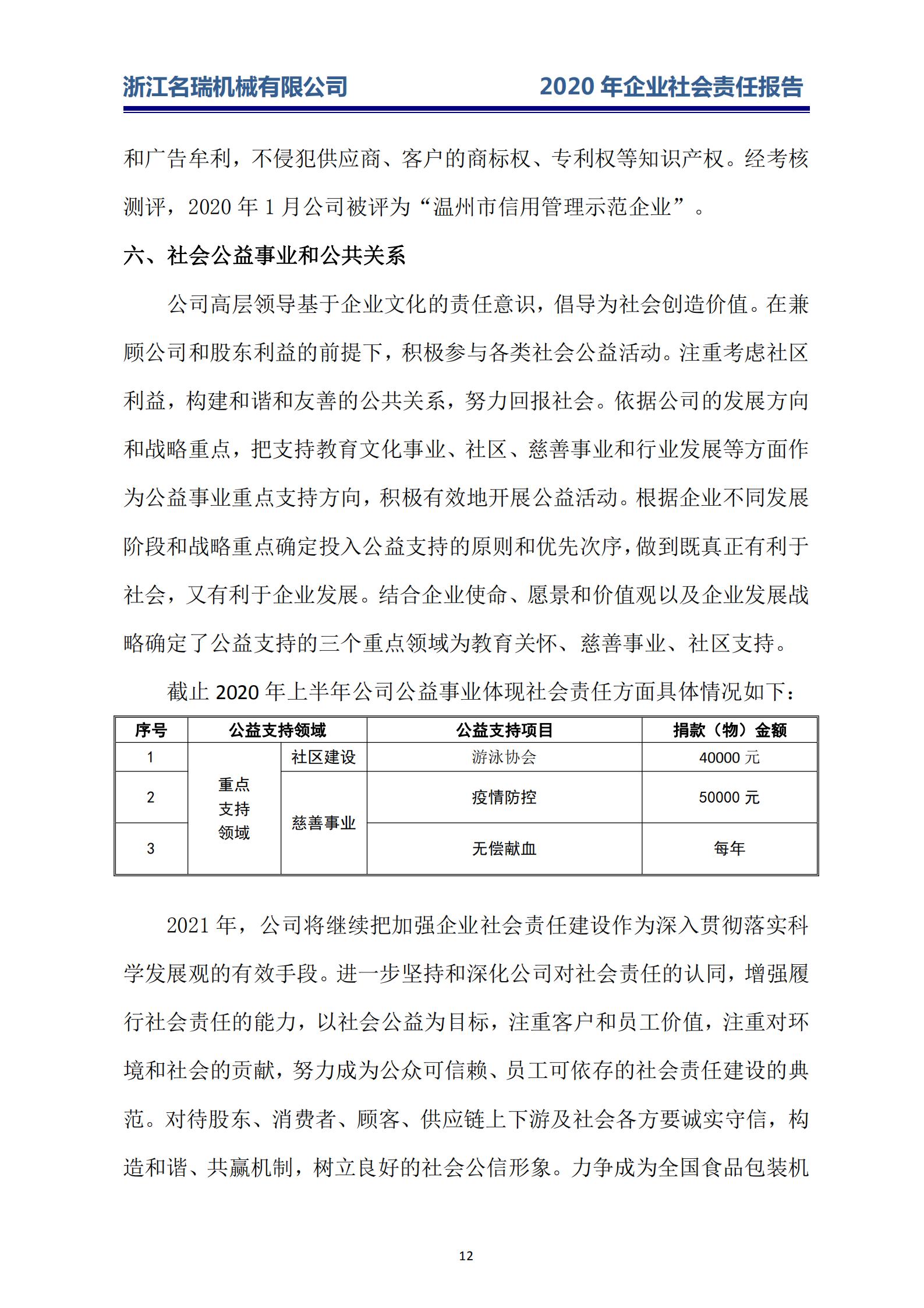 浙江名瑞-2020年企业社会责任报告