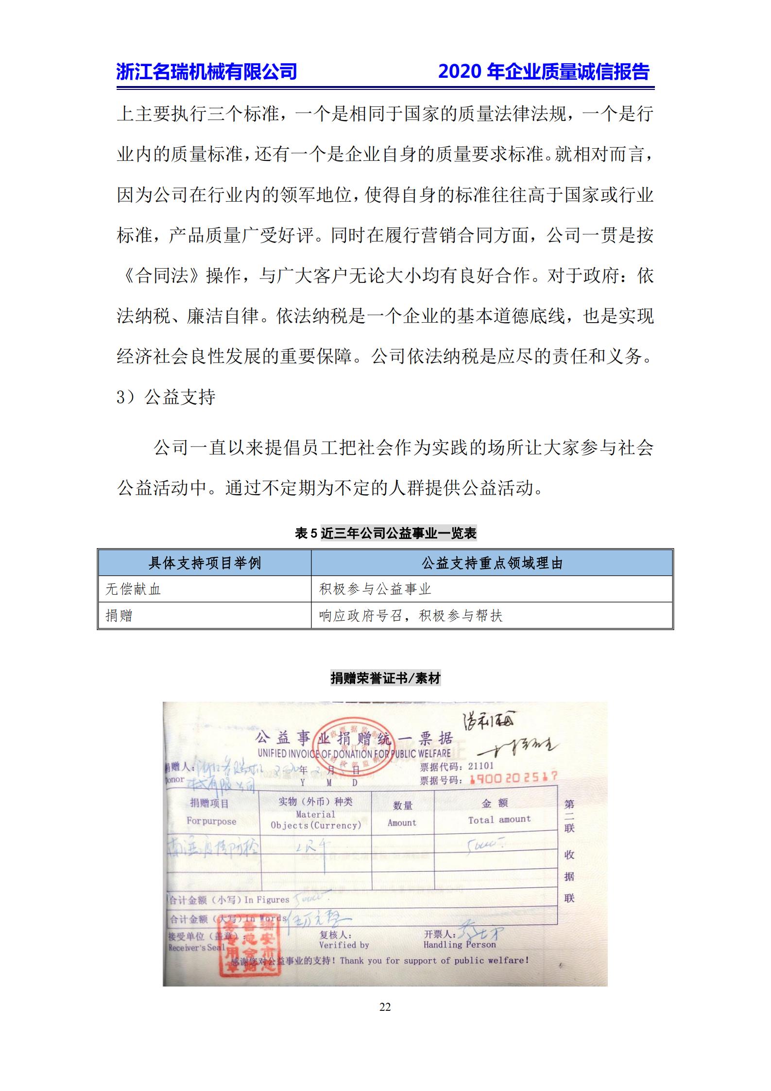浙江名瑞-2020年企业质量诚信报告
